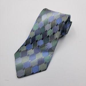 Murano gray green checkered silk extra long tie